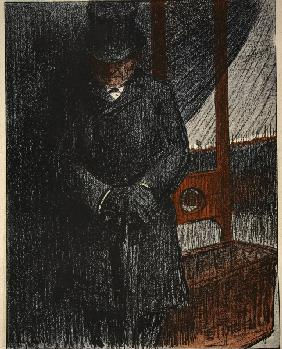 An undertaker awaits his next victim by the guillotine, illustration from ''L''assiette au Beurre: L