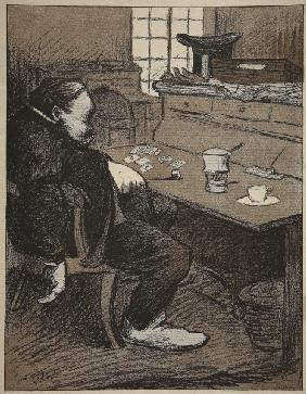 Hard at work, a break from cards and coffee!, illustration from ''L''assiette au Beurre: Les Fonctio