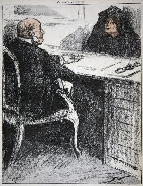 Widow with a justice official, illustration from ''L''assiette au Beurre: Les Fonctionnaires'', 9th