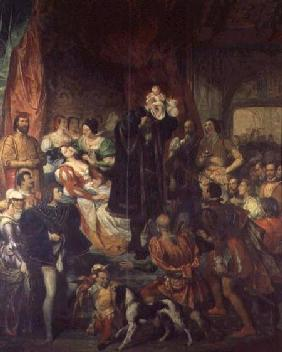 The Birth of Henri IV (1553-1610) at the castle of Pau, 13th December 1553