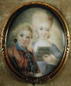Wolfgang Amadeus Mozart (1756-91) and his sister Maria-Anna called 'Nannerl' (1751-1829)