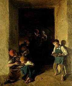 Waldm�ller, Ferdinand Georg : Children get her breakfast...
