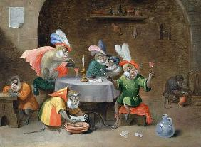 A Tavern Interior with Monkeys drinking and smoking