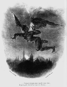 Mephistopheles Prologue in The Sky. Illustration to Goethe's Faust