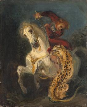 Delacroix, Ferdinand Victor Eug�ne : Rider Attacked by a Jaguar