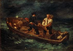 Delacroix, Ferdinand Victor Eug�ne : After the shipwreck.