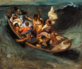 Delacroix, Ferdinand Victor Eug�ne : Christ in the storm on the...