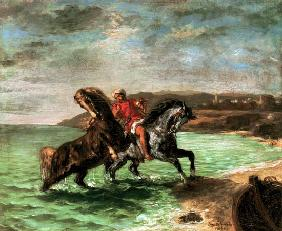 Delacroix, Ferdinand Victor Eug�ne : Two horses get out of the ...