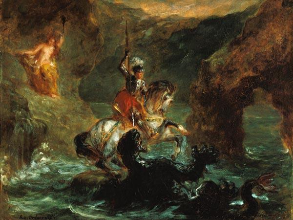 Delacroix, Ferdinand Victor Eug�ne : St. Georg in the fight wit...