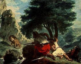 Delacroix, Ferdinand Victor Eug�ne : The hunting on lions