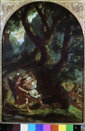 Delacroix, Ferdinand Victor Eug�ne : Jakob struggles with the a...