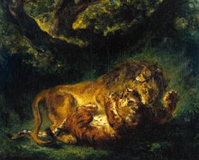 Delacroix, Ferdinand Victor Eug�ne : Fight between lion and tig...