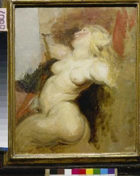 Delacroix, Ferdinand Victor Eug�ne : Copy of a naked woman figu...