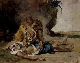 Delacroix, Ferdinand Victor Eug�ne : Lion at the corpse of an a...