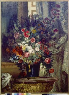 Delacroix, Ferdinand Victor Eug�ne : Vase with flowers on a con...