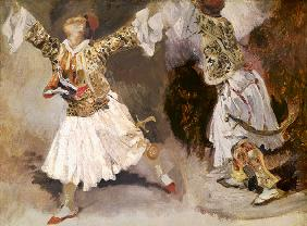 Delacroix, Ferdinand Victor Eug�ne : Two Greek Soldiers Dancing...