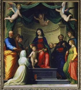 The mystical wedding of the H.Katharina of sienna, in the presence of eight saints