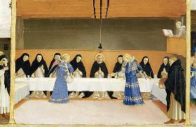 St. Dominic and his Companions Fed Angels, from the predella panel of the Coronation of the Virgin,