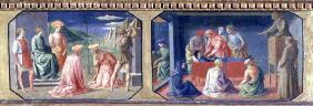 (LtoR) The Martyrdom of SS. Cosmas and Damian, St. Anthony of Padua finding the Miser's Heart; two p