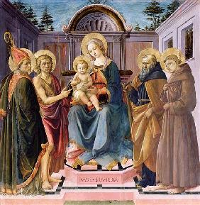 Madonna and Child Enthroned with (LtoR) SS. Zenobius, John the Baptist, Anthony Abbot and Francis