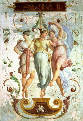 Decorative panel with dancers (fresco)