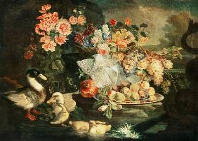 Still Life of Fruit and Flowers with a Duck, Drake and Ducklings
