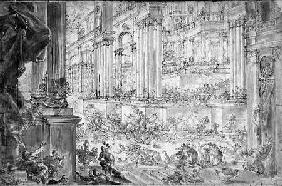 The Expulsion of Heliodorus from the Temple (pen & ink)