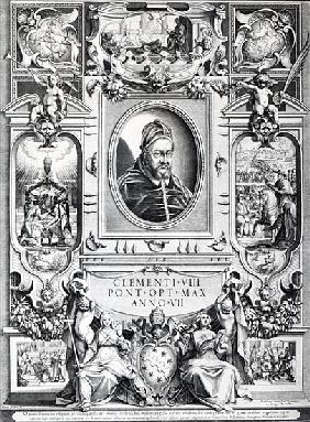 Pope Clement VIII, surrounded by scenes from his life