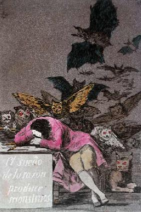 The Sleep of Reason Produces Monsters, plate 43 of 'Los Caprichos', published c.1810 (colour engravi