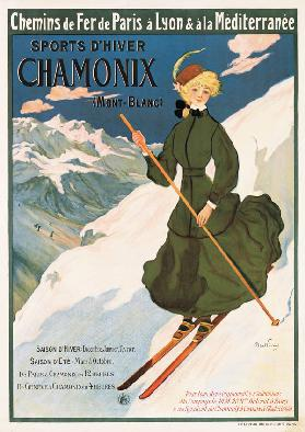 Poster advertising SNCF routes to Chamonix,