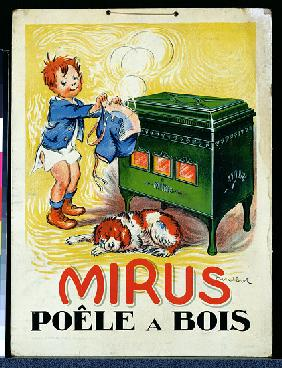 Advertisement for the Mirus wood-burning stove