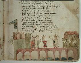 Ms Est 27 W 8.17 f.2r A Meeting on a Bridge, from 'The War of Attila' by Nicola da Casola (vellum)
