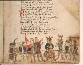Ms Est 27 W 8.17 f.3r Attila the Hun (c.406-453) and his Court, from 'The War of Attila' by Nicola d