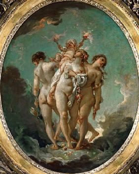 The Three Graces holding Cupid