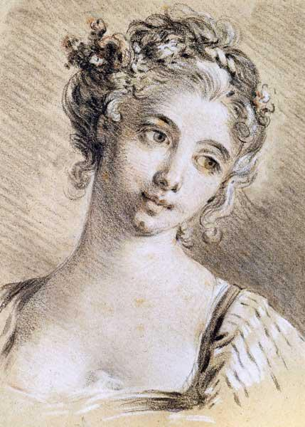 Boucher, Fran�ois : Head of a Young Girl (char...