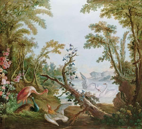 Boucher, Fran�ois : Lake with swans, a flaming...