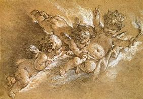 Three putti in clouds