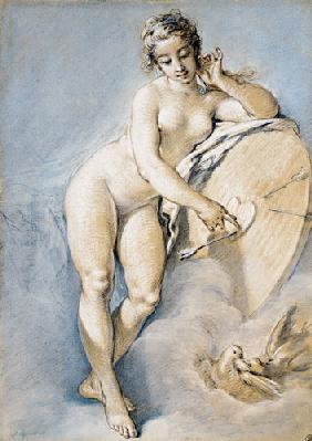 Venus Standing, Gesturing Towards A Heart On A Targe With Two Doves