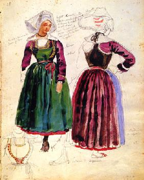 Two Women in traditional Dresses of Pont Aven