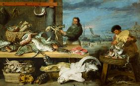 Snyders, Frans : A fish market. (the figure...