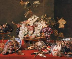 Still life of grapes in a basket