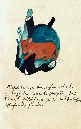 The sacred Kälbchen (on postcard to Else Lasker pupils)