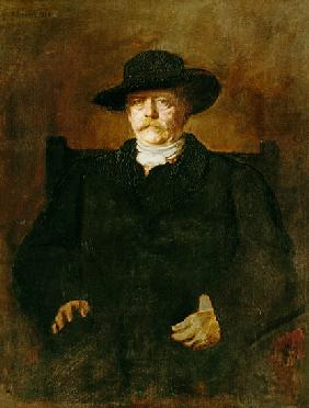 Portrait of Otto of Bismarck into civilian with a broad-brimmed hat.