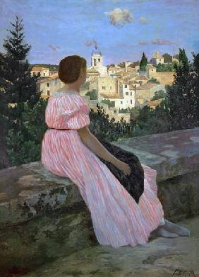 Bazille, Fr�d�ric : The red dress (or: Look on...