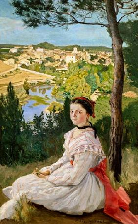 Bazille, Fr�d�ric : View of the village, Caste...