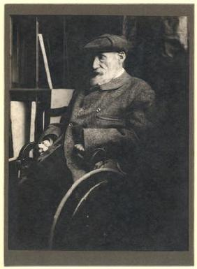 Auguste Renoir (1841-1919) in a wheelchair (b/w photo)