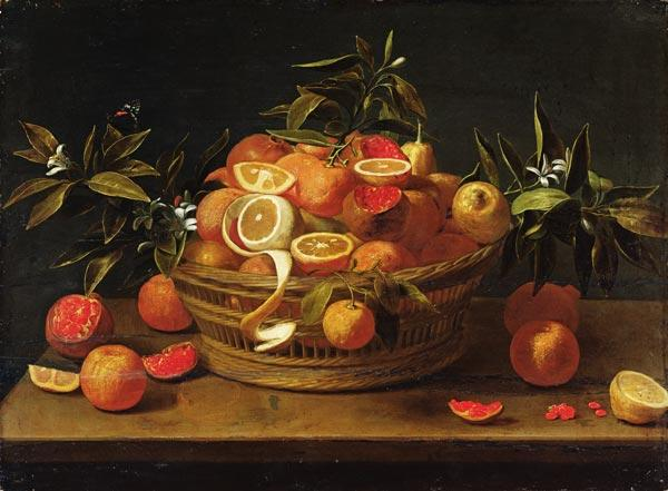 Still life with lemon, orange and pomegranate