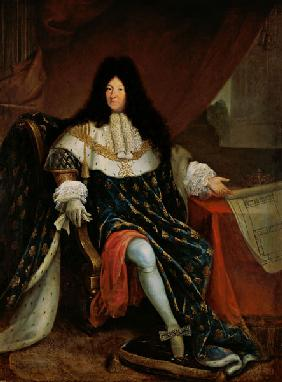 Louis XIV (1638-1715) Holding a Plan of the Maison Royale de Saint-Cyr