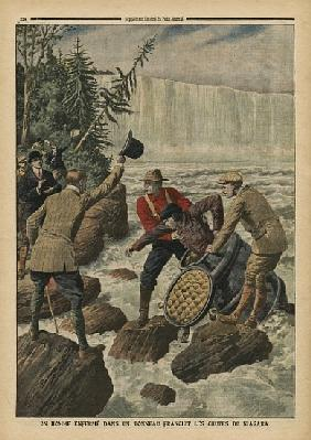 A man in a barrel crossing the Niagara Falls, illustration from ''Le Petit Journal'', supplement ill