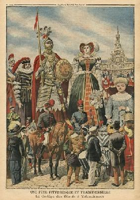 A picturesque and traditional feast, the procession of the Giants at Valenciennes, illustration from
